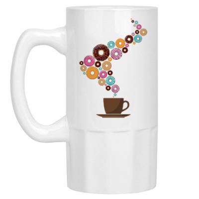 Пивная кружка Кофе с пончиками