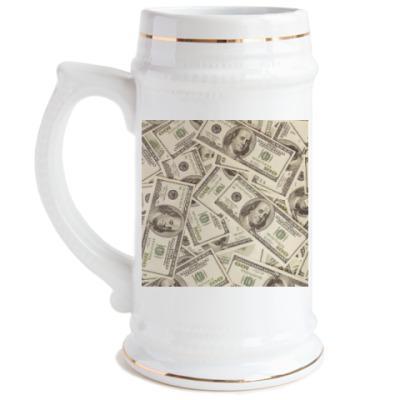Пивная кружка Доллары
