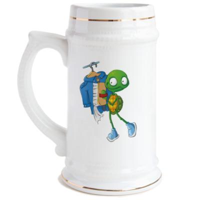 Пивная кружка Чистюля Черепашонок с щеткой
