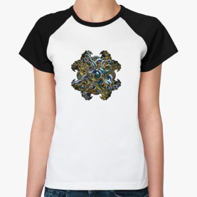 Женская футболка реглан абстрактный 3d крест