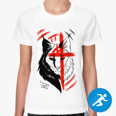 Женская спортивная футболка Треш-полька рысь