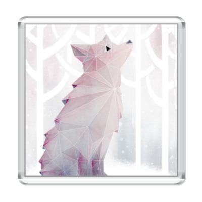 Магнит Зимний Лис в снегу Winter fox
