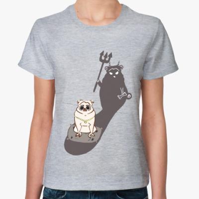 Женская футболка Мопс
