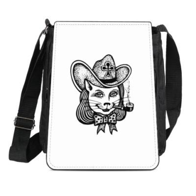Сумка-планшет Кошка в шляпе с трубкой