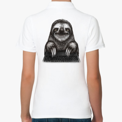 Женская рубашка поло Ленивец компьютерный