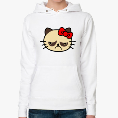 Женская толстовка худи Grumpy Kitty