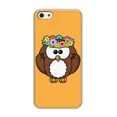 Чехол для iPhone 5/5s Сова с цветами