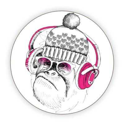 Костер (подставка под кружку) Новогодняя смешная обезьянка