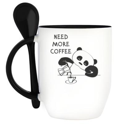 Кружка с ложкой Панда хочет больше кофе