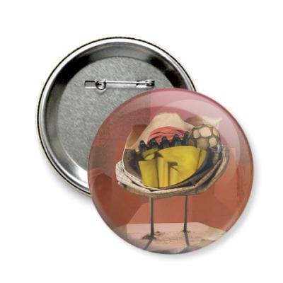 Значок 58мм Натюрморт с футбольным мячом