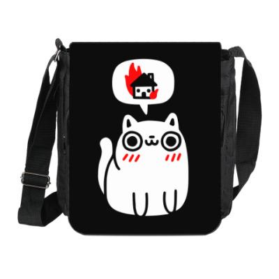 Сумка на плечо (мини-планшет) Котик злой