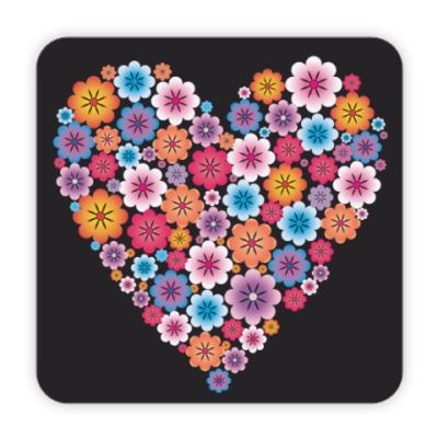 Костер (подставка под кружку) Сердце из цветов