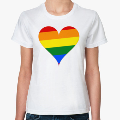 Классическая футболка Rainbow Heart