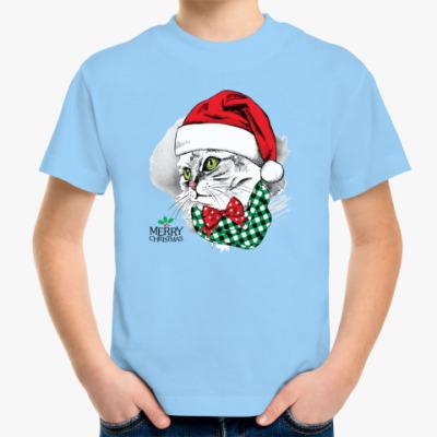 Детская футболка Новогодняя Кошка