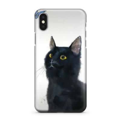 Чехол для iPhone X Черный кот