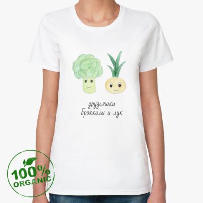 Женская футболка из органик-хлопка Друзьяшки брокколи и лук