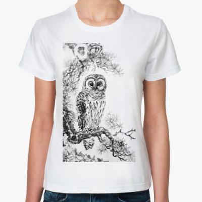 Классическая футболка Сова на сосне