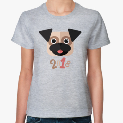 Женская футболка Мопс новогодний символ года