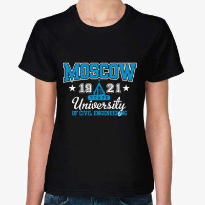 Женская футболка  футболка МГСУ