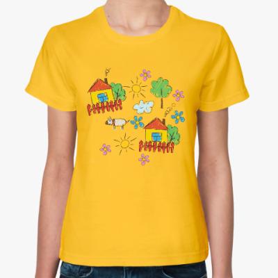 Женская футболка Домики