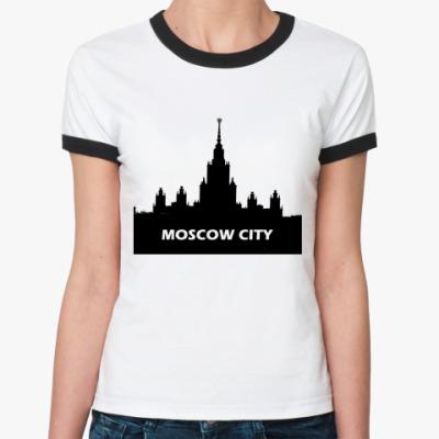Женская футболка Ringer-T Moscow  (бел/чёрн)