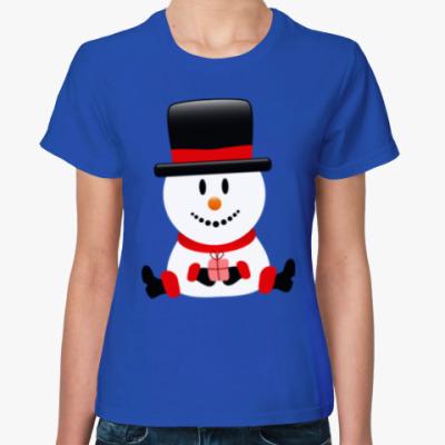 Женская футболка Снеговик