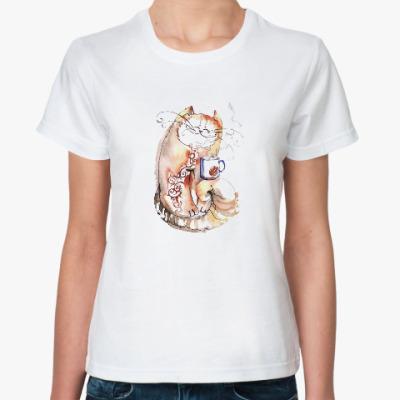 Классическая футболка Кофе с котом