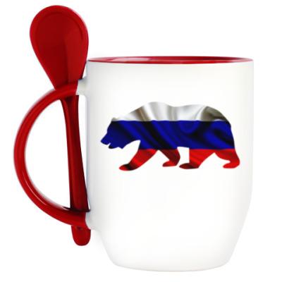 Кружка с ложкой Русский медведь