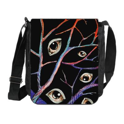 Сумка на плечо (мини-планшет) глаза, ветви, вены, сюрреализм