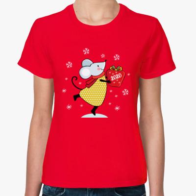 Женская футболка Новогодняя год крысы мыши 2020