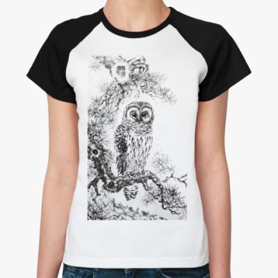 Женская футболка реглан Сова на сосне