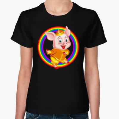 Женская футболка Rainbow Piggy