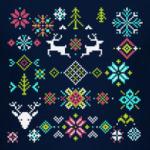 Новогодние вязаные олени, снежинки