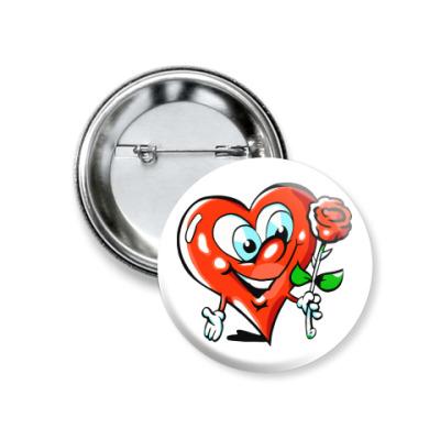 Значок 37мм влюбленное сердце