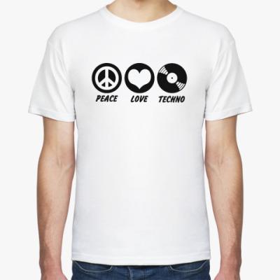 Футболка  Peace Love Techno