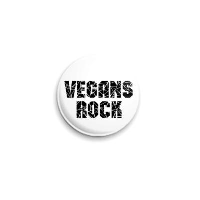 Значок 25мм Vegans rock (Веганы рулят)