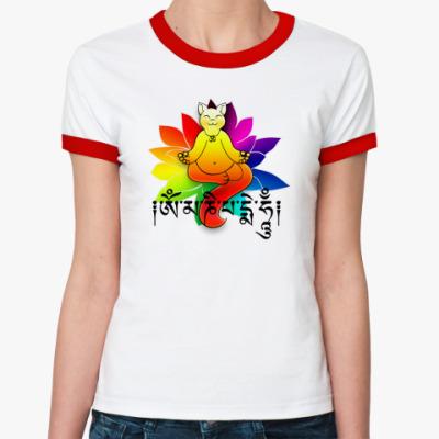 Женская футболка Ringer-T Медитирующий Котэ