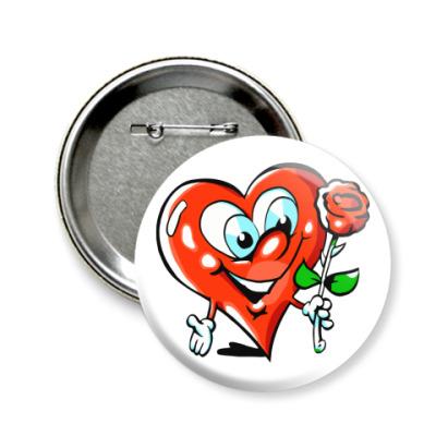 Значок 58мм влюбленное сердце