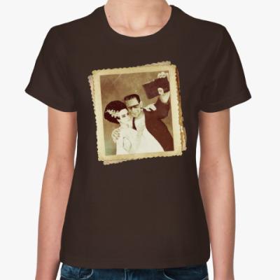 Женская футболка Монстр Франкенштейна и невеста