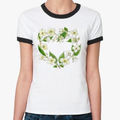 Женская футболка Ringer-T Жасминовое сердце