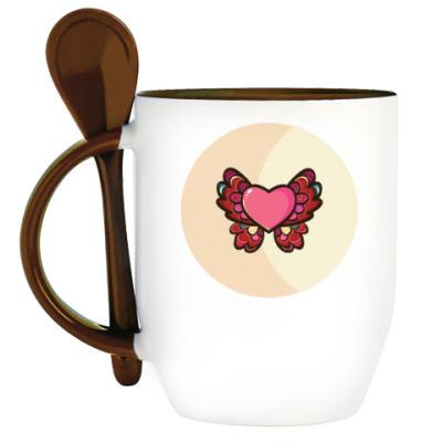 Кружка с ложкой Сердце-бабочка