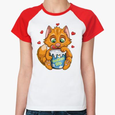 Женская футболка реглан Рыжий кот