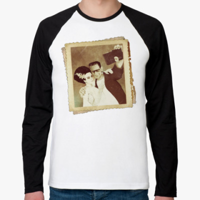 Футболка реглан с длинным рукавом Монстр Франкенштейна и невеста