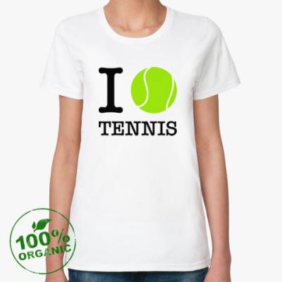 Женская футболка из органик-хлопка I love tennis
