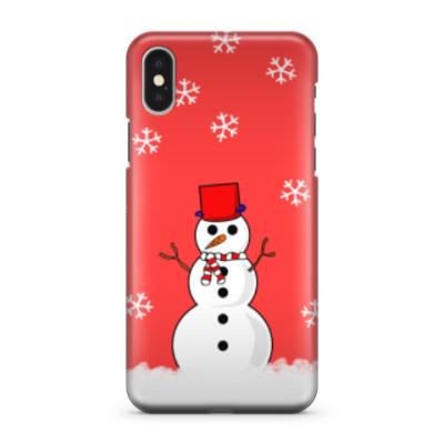 Чехол для iPhone X Снеговик