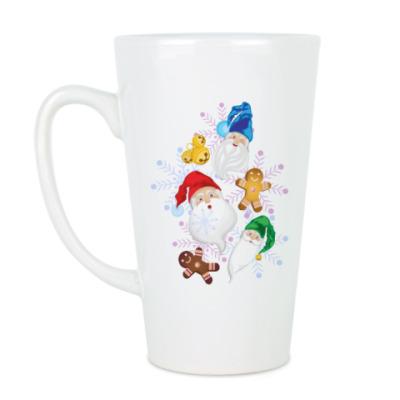 Чашка Латте Санта и веселые гномы