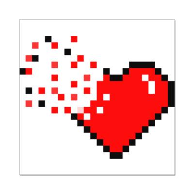 Наклейка (стикер) Pixel Broken Heart (сердце)