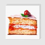 Кусок торта с малиной. Акварель