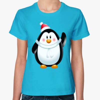 Женская футболка Новогодний Пингвин