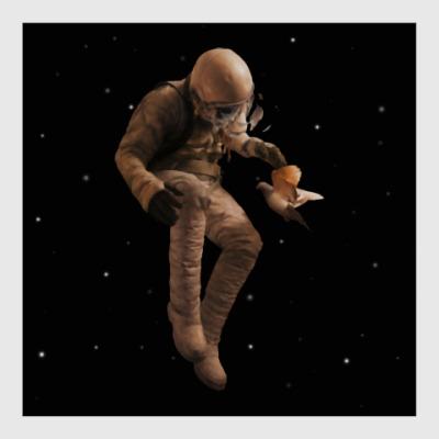 Постер Космонавт с голубем